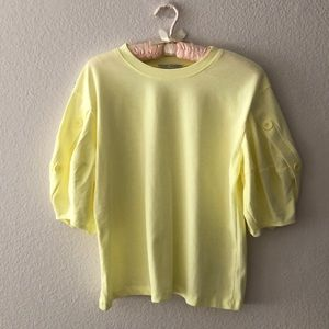 🎉ZARA Yellow Shirt with puff sleeves